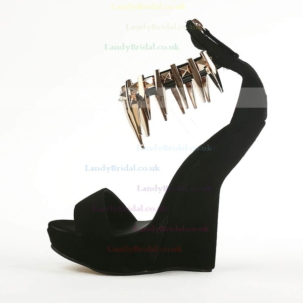 Women's Black Suede Pumps with Others