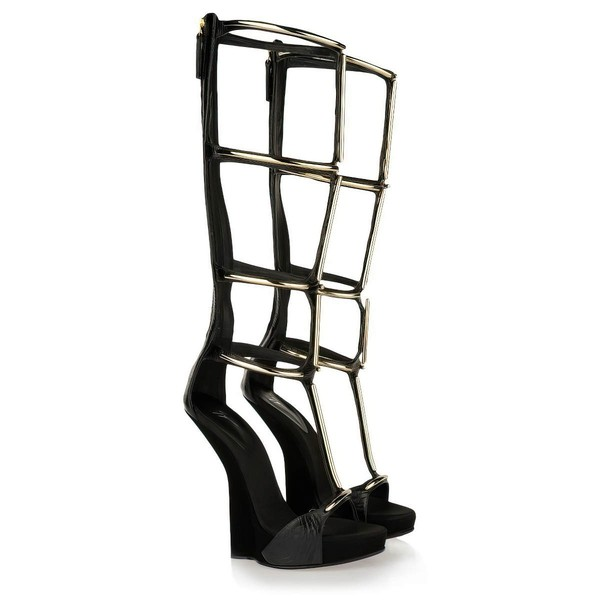 Women's Black Real Leather Sandals