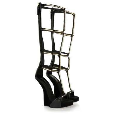 Women's Black Real Leather Sandals #LDB03030432