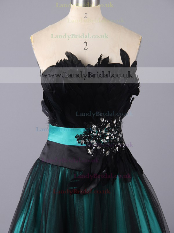 A-line Tulle Strapless Floor-length Feathers/Fur Prom Dresses #LDB02060047