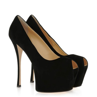 Women's Black Suede Pumps #LDB03030434