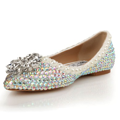 Women's  Patent Leather Flats with Crystal/Pearl #LDB03030438