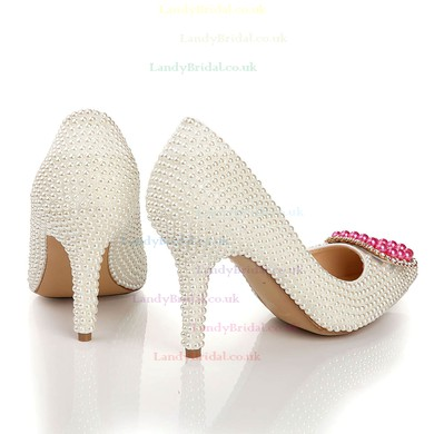 Women's White Patent Leather Pumps with Crystal/Pearl #LDB03030440
