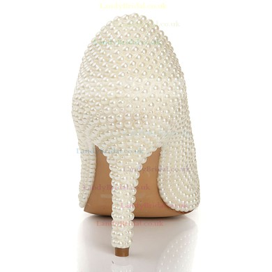 Women's Ivory Patent Leather Pumps with Rhinestone/Pearl #LDB03030441