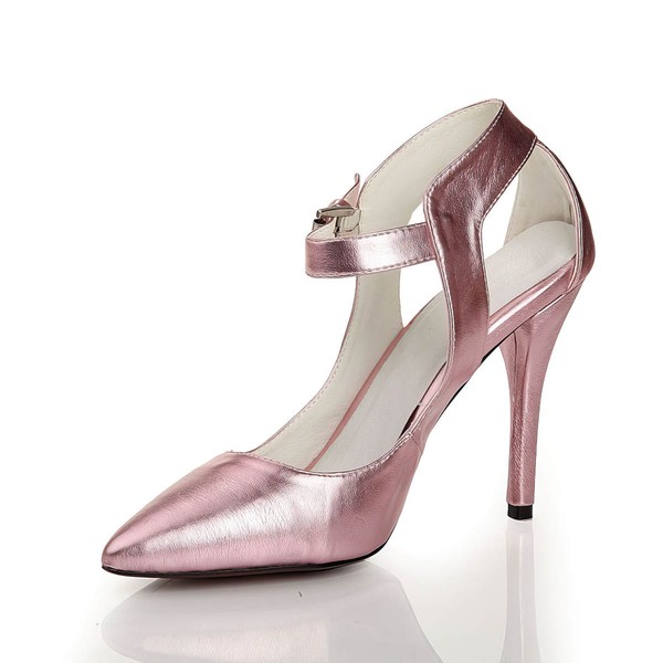 Women's Pink Real Leather Pumps with Buckle