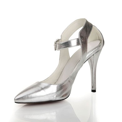 Women's Silver Real Leather Closed Toe with Buckle #LDB03030446