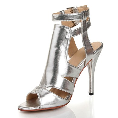 Women's Silver Real Leather Pumps with Buckle #LDB03030448