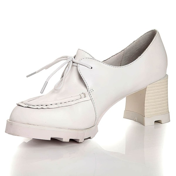 Women's White Real Leather Closed Toe with Lace-up #LDB03030450