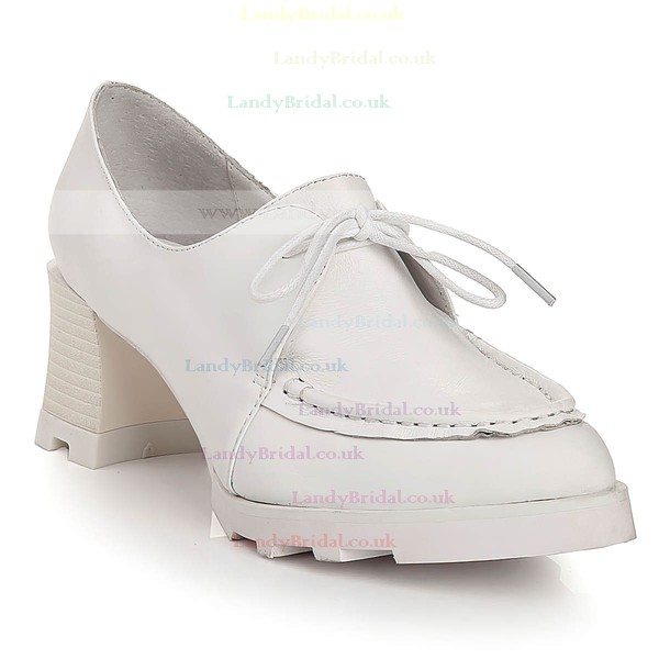 Women's White Real Leather Closed Toe with Lace-up
