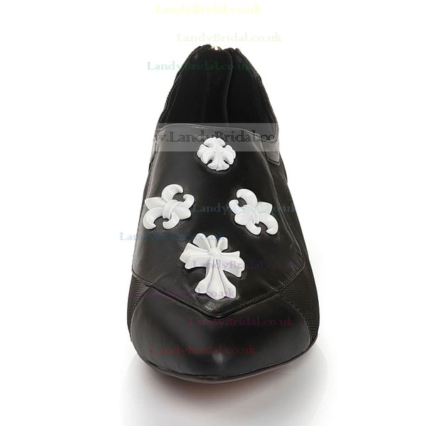 Women's Black Real Leather Closed Toe with Split Joint