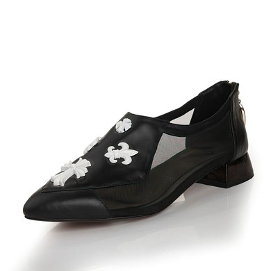 Women's Black Real Leather Closed Toe with Split Joint #LDB03030451