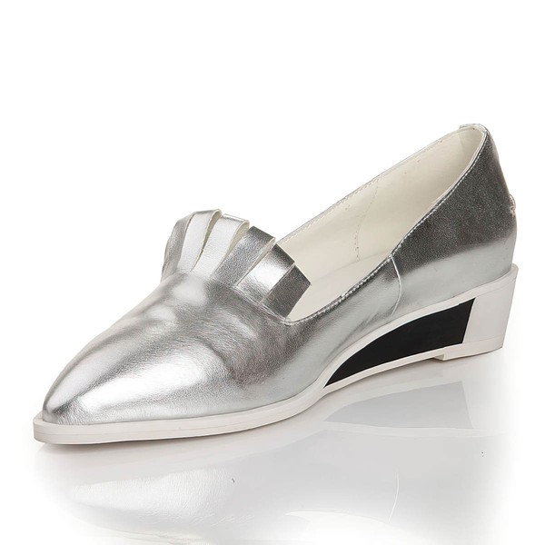 Women's Silver Real Leather Closed Toe #LDB03030452