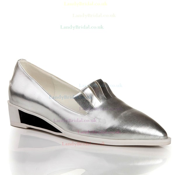 Women's Silver Real Leather Closed Toe