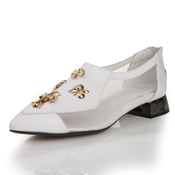 Women's White Real Leather Closed Toe with Hollow-out #LDB03030453