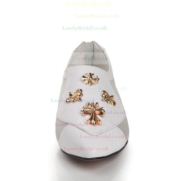Women's White Real Leather Closed Toe with Hollow-out