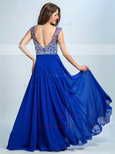 Hot A-line Scoop Neck Chiffon Tulle Crystal Detailing Royal Blue Long Prom Dresses #LDB02060485