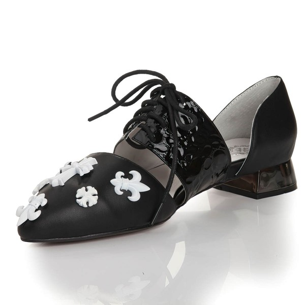 Women's Black Real Leather Closed Toe with Bowknot/Lace-up #LDB03030454