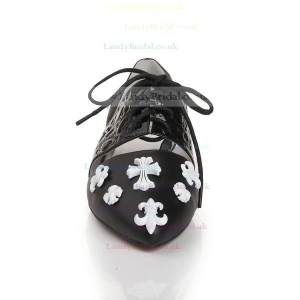 Women's Black Real Leather Closed Toe with Bowknot/Lace-up