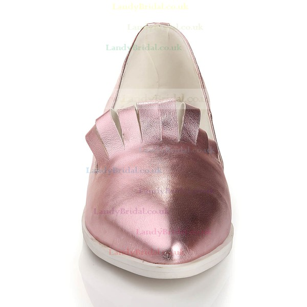 Women's Pink Real Leather Closed Toe