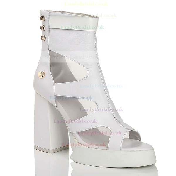 Women's White Real Leather Peep Toe with Hollow-out/Rivet