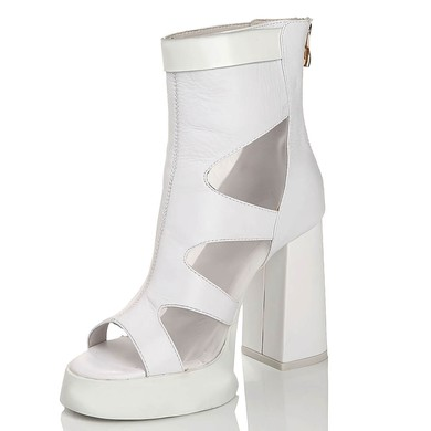 Women's White Real Leather Peep Toe with Hollow-out/Rivet #LDB03030458