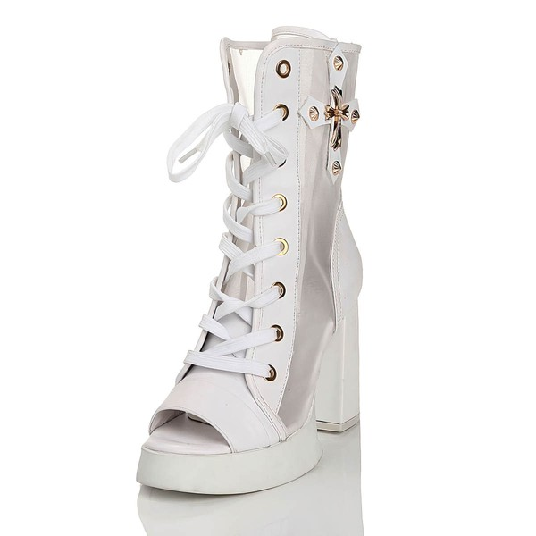 Women's White Real Leather Peep Toe with Lace-up/Rivet