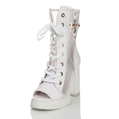Women's White Real Leather Peep Toe with Lace-up/Rivet #LDB03030460