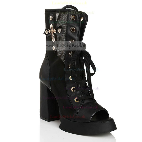 Women's Black Leatherette Peep Toe with Bowknot/Lace-up