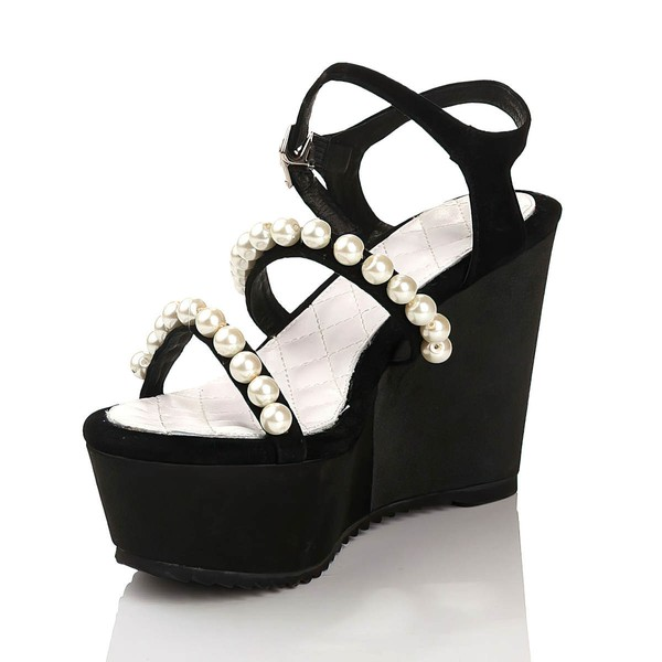 Women's Black Velvet Sandals with Buckle/Imitation Pearl
