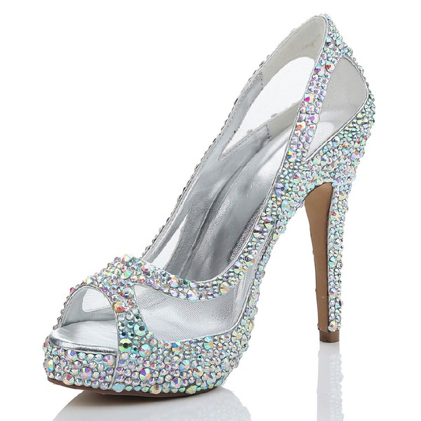 Women's  Suede Peep Toe with Rhinestone/Hollow-out #LDB03030464