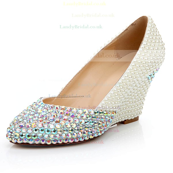 Women's White Patent Leather Closed Toe with Rhinestone/Imitation Pearl/Crystal Heel