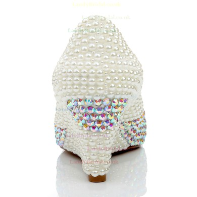 Women's White Patent Leather Closed Toe with Rhinestone/Imitation Pearl/Crystal Heel #LDB03030465