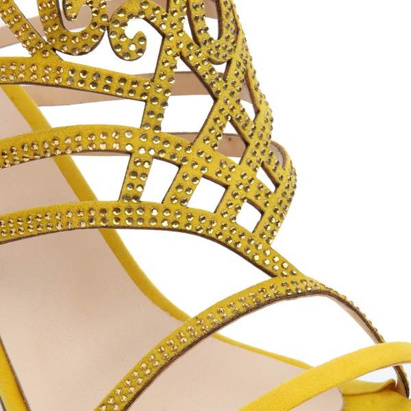 Women's Yellow Velvet Sandals with Buckle