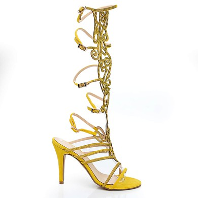 Women's Yellow Velvet Sandals with Buckle #LDB03030466
