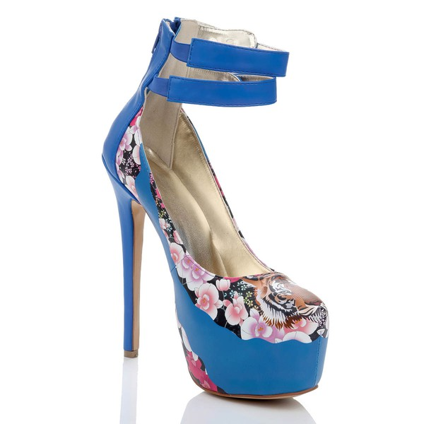 Women's Blue Suede Platform with Animal Print #LDB03030467