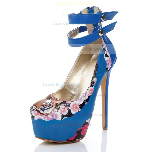 Women's Blue Suede Platform with Animal Print