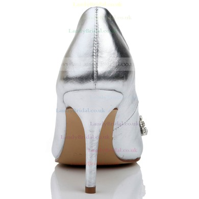 Women's Silver Real Leather Pumps with Rhinestone/Hollow-out #LDB03030468