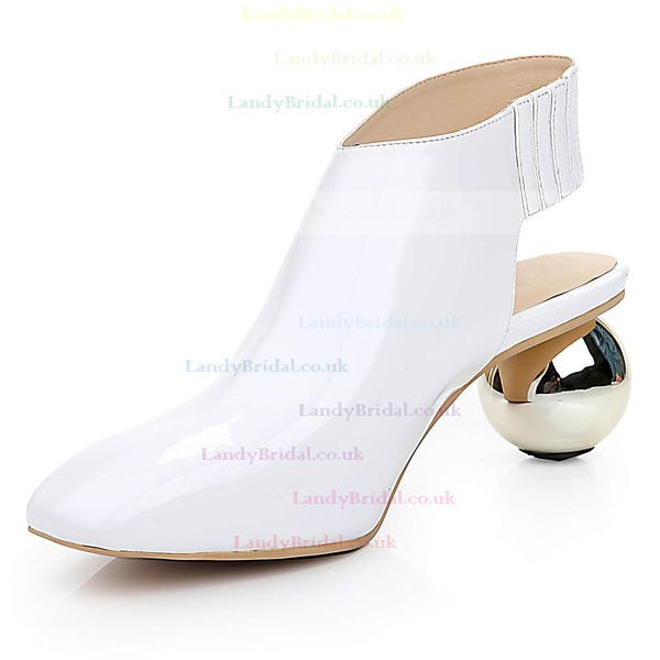 Women's White Patent Leather Closed Toe