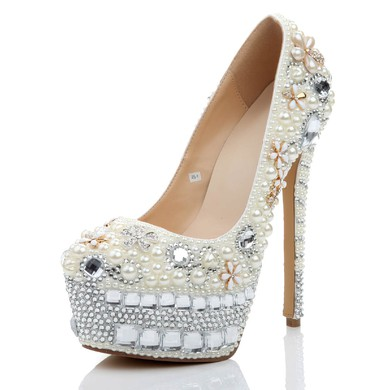 Women's White Patent Leather Pumps with Crystal/Crystal Heel/Pearl #LDB03030473