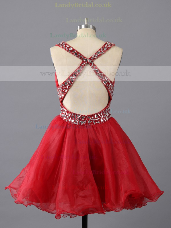 Short/Mini Crystal Detailing Open Back Red Organza V-neck Prom Dress #LDB02111404