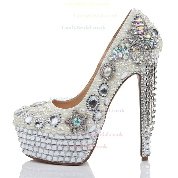 Women's White Patent Leather Platform with Crystal/Crystal Heel/Tassel