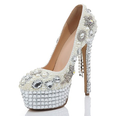 Women's White Patent Leather Platform with Crystal/Crystal Heel/Tassel #LDB03030474