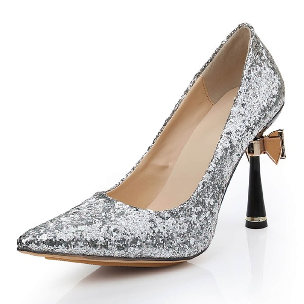 Women's Silver Sparkling Glitter Pumps with Bowknot/Sparkling Glitter #LDB03030477