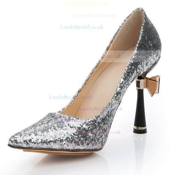 Women's Silver Sparkling Glitter Pumps with Bowknot/Sparkling Glitter