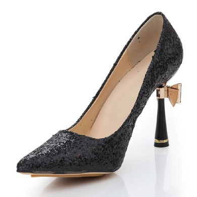 Women's Black Sparkling Glitter Pumps with Bowknot/Sparkling Glitter #LDB03030478