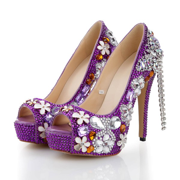 Women's Purple Patent Leather Pumps with Crystal/Crystal Heel/Tassel #LDB03030479