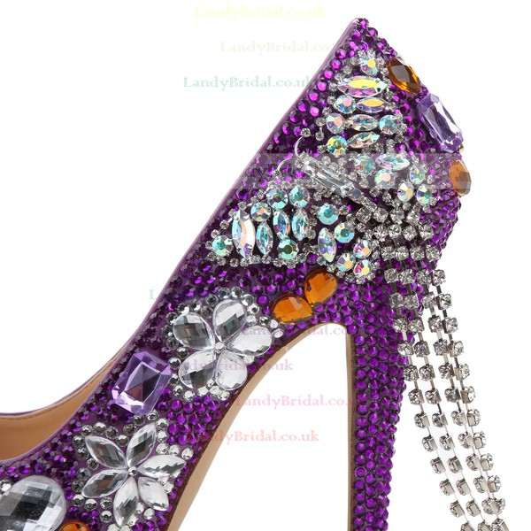 Women's Purple Patent Leather Pumps with Crystal/Crystal Heel/Tassel