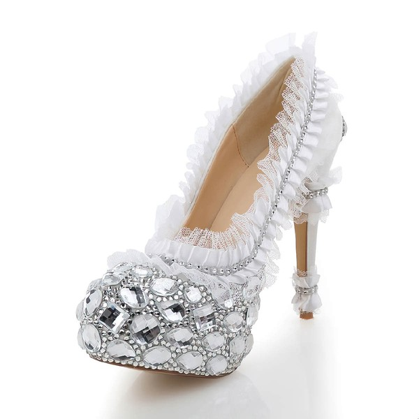 Women's White Satin Pumps with Rhinestone/Stitching Lace #LDB03030480