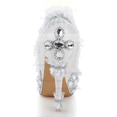 Women's White Satin Pumps with Rhinestone/Stitching Lace #LDB03030480