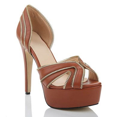 Women's Brown Real Leather Pumps with Zipper #LDB03030481
